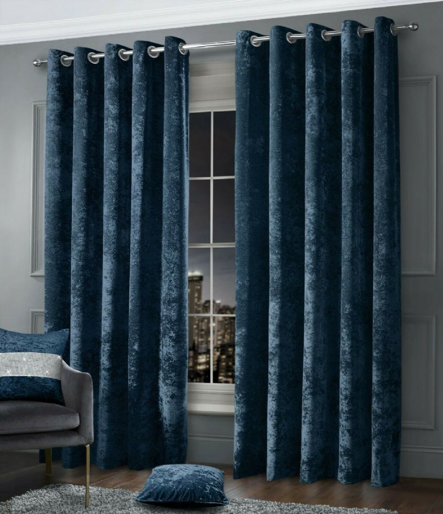 Stylish Crushed Velvet Modern Textured Ringtop Eyelet Pair Of Curtains Navy Colour